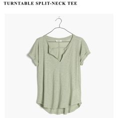 """Madewell split-neck tee Madewell """"turntable"""" split-neck tee in light green. Worn twice, like-new!! Fabric is a cotton/synthetic blend. Super flattering cut, but I don't like the way the fabric feels. Just a personal thing, otherwise I'd be keeping it! Madewell Tops Tees - Short Sleeve"""