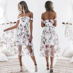 342b89677ea8 Modern   Fashion White Dating Maxi Dresses 2018 A-Line   Princess Printing  Off-The-Shoulder Short Sleeve Tea-length Womens Clothing