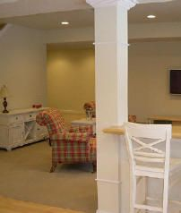 Basement Pole Wraps - Jack Post & Lally Column Covers I Elite Trimworks Interior Columns, Interior Rugs, Interior Windows, Interior Ideas, Column Covers, Square Columns, Interior Design Colleges, Doors And Floors, Wood Columns