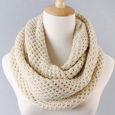 Pure Color Openwork Knitted Woolen Yarn Scarf