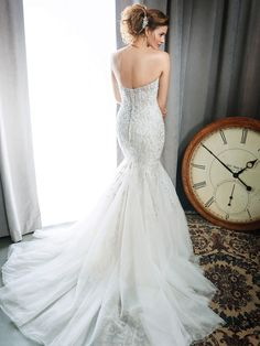 Kenneth Winston Style 1691 | trumpet style beaded embroidery wedding dress with sweetheart neckline | luxurious bridal gown