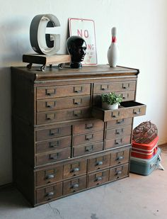 Amazing Antique Industrial Wood 23 Drawer Library Card Catalog Cabinet... i have ALWAYS wanted one of these... perfect for a craft room