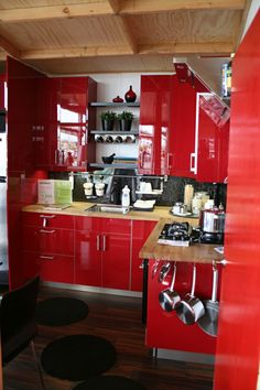 tiny house kitchen -- I like how they still used some great design