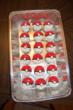 Pokeball cupcakes for Pokemon birthday