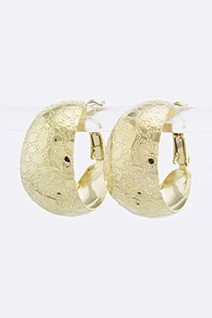 BAUBLES  CO PEBBLE PATTERN HOOP EARRINGS Gold ** Details can be found by clicking on the image.