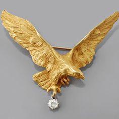 Art Nouveau Gold Old European-cut Diamond Eagle Pin
