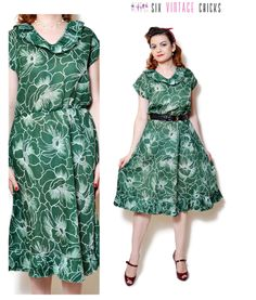 floral Dress women midi dress green summer dresses retro clothes see through vintage clothing boho chic short sleeve ruffle 60s 70s clothing by SixVintageChicks on Etsy