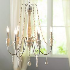 Lark Manor Elissa 6 - Light Candle Style Classic / Traditional Chandelier with Beaded Accents in 2019 Bathroom Chandelier, Farmhouse Chandelier, Beaded Chandelier, Farmhouse Lighting, Chandelier Lighting, Dining Room Lighting, Bedroom Lighting, Kitchen Lighting, Electrical Fixtures