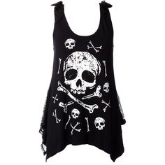 Jawbreaker Skull Vest Top (Black) ($29) ❤ liked on Polyvore featuring tops, shirts, tank tops, blusas, tanks, black skull shirt, shirts & tops, skull shirt, skull print shirt and black tank top