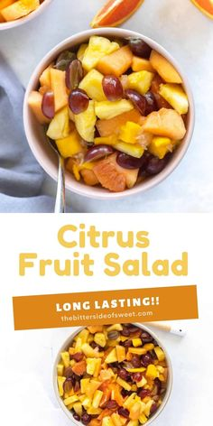 This Citrus Fruit Salad is so simple to put together! With seasonal fruit and a splash of orange juice this salad is long lasting! | The Bitter Side of Sweet Brunch Recipes, Sweet Recipes, Brunch Items, Fruit In Season, Recipe Please, Orange Juice, Bitter, Fruit Salad, Delicious Desserts