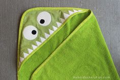 DIY. Monster Hooded Towel. Check out the HaberdasheryFun blog for the full tutorial