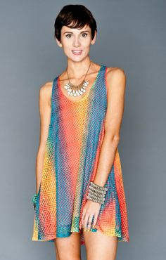 Show Me Your Mumu Montauk Tent Dress ~ Rainbow Crochet