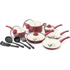 GreenLife Healthy Ceramic Non-Stick 14-Piece Soft Grip Cookware Set