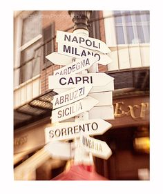 Italy City Signs Photograph, Street Signs, 8x10 print, Boston Photography, Map, City Print, Lead me to Italy, Home Decor Wall Art