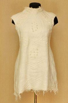 Lang ersehnte Schnee / Filz Kleidung / Tunika Kleid
