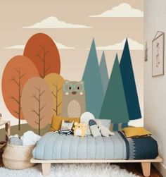 Bear in Forest Wall Mural Removable Wallpaper Kids Mural, Peel & Stick Animal Wallpaper Childrens Mural Peel 'n Stick Wall Paper Remove Playroom Mural, Kids Wall Murals, Murals For Kids, Childrens Wall Murals, Room Wall Painting, Kids Room Paint, Kids Rooms, Old Wallpaper, Animal Wallpaper