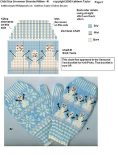 Kathleen Taylors Dakota Dreams: Freebie Friday- Part Stranded Snow Mittens Child Size Knitted Mittens Pattern, Fair Isle Knitting Patterns, Christmas Knitting Patterns, Crochet Mittens, Knitting Charts, Knitted Gloves, Loom Knitting, Knitting Stitches, Knitting Socks