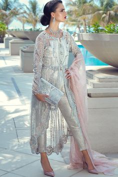 Net embroidered party dress with sequins is presented for party and wedding wear. We are offering fast delivery for net embroidered party dress in USA Pakistani Wedding Dresses, Pakistani Dress Design, Pakistani Suits, Pink Party Dresses, Wedding Party Dresses, Net Dresses, Luxe Wedding, Wedding Wear, Indian Couture