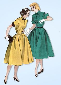 1950s Vintage Butterick Sewing Pattern 6225 Easy Uncut Misses Dress Size 14 32B