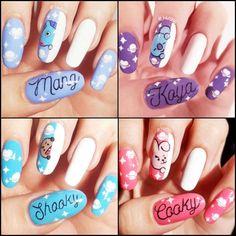 Korean Nail Art, Korean Nails, K Pop Nails, Cute Nails, Army Nails, Natural Gel Nails, Dot Nail Art, Nail Time, Manicure E Pedicure