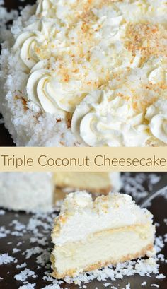 ULTIMATE Coconut Cheesecake recipe. This amazing, smooth and silky cheesecake is packed with coconut flavors in each and every layer. Starting with the coconut cookie crust, this cheesecake is filled with coconut cheesecake and topped with fluffy coconut cream cheese frosting. #coconut #cheesecake #homemade #frosting