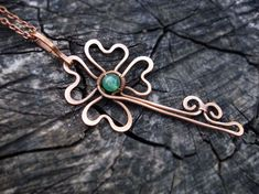 Green clover long pendant, Key pendant necklace, Shamrock copper jewelry, Four leaf clover, luck necklace, Wire wrap copper, Gift for Her