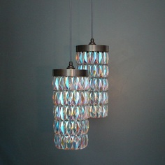 Tigermoth Lighting Petrol Crystal Maxi Pendant Lights with Bronze Metalwork...