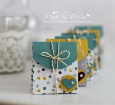 Goodies in lagoon blue and cantaloupe with products from Stampin Up with tutorial