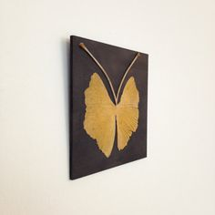 ginkgo leaf butterfly on black panel from Leaf Spring Designs