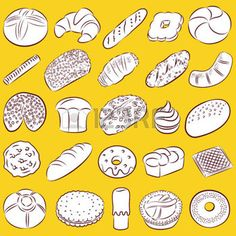 collection of bakery and pastry food in line art photo