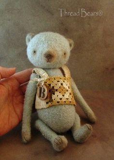 Artist BEAR Vintage Style primitive BLUE doll by Thread Bears®