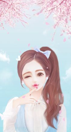 Find images and videos about cute, pink and art on We Heart It - the app to get lost in what you love. Love Cartoon Couple, Girl Cartoon, Cute Cartoon, Kawaii Cute, Kawaii Girl, Sakura Wallpaper, Girly M, Lovely Girl Image, Cute Girl Wallpaper