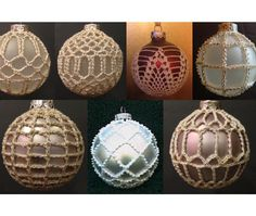 Ravelry: 7 Christmas Ball Covers pattern by Priscilla Hewitt Crochet Christmas Ornaments, Christmas Crochet Patterns, Holiday Crochet, Crochet Snowflakes, Christmas Knitting, Christmas Baubles, Christmas Items, Christmas Angels, Christmas Christmas