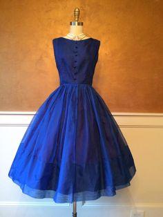 ~Vintage Jackie Nimble sapphire blue 1950s party dress~