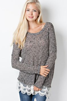 Crochet Around Sweater Tunic - Charcoal | Hazel & Olive