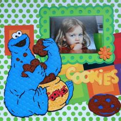 """Girl Scrapbook Page - with Cookie Monster, the title """"Cookie"""" and a cookie from Cricut's Sesame Street Friends"""