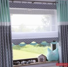 Kids Wave roller blind, gray + mint, any size – Curtains 2020 Curtains Childrens Room, Kids Room Curtains, Grey Roller Blinds, Roller Shutters, Blinds For Windows, Curtains With Blinds, Modern Kitchen Curtains, Bay Window Treatments, Traditional Windows