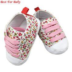 Infant Toddler atado-t Primeros Caminante de Suela Blanda antideslizante Bebé Recién Nacido Zapatos de Lona Floral