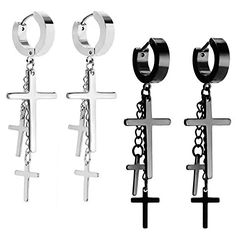 JewelrieShop Cross Tassel Stainless Steel Urban Huggie Hinged Hoop Dangle Earrings >>> Nice of your presence to have dropped by to view the picture. (This is our affiliate link) 80s Jewelry, Grunge Jewelry, Cute Jewelry, Jewelry Gifts, Jewellery, Bts Earrings, Fashion Earrings, Dangle Earrings, Fashion Jewelry