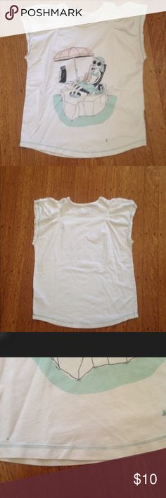 👚Little Marc Jacobs Short sleeved top👚 What: Short sleeved top with graphic print Shipping: I can package it in about 1 to 2 days and put it in the mail, and then I depends on where you live.  Condition: Worn, there are two blue stains in the shirt. They don't come out but, it doesn't affect the wear at all. Additional comments: Please comment any questions you have for questions you may have and I'll answer them quickly. Little Marc Jacobs Shirts & Tops Tees - Short Sleeve