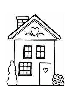 La petite maison de campagne décorée avec des cœurs, à colorier