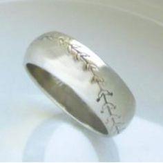 Baseball wedding ring @terri Bennett this is cool!