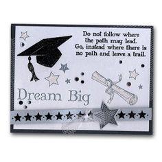 Grad Hat Diploma Embossed Card