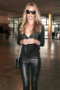 How to Style Faux Leather Leggings | Glam Bistro - Such a great style! Rosie Huntington Whitely