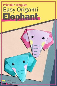 Free printable Easy Origami Elephant Craft for kids of all ages. Three different printable templates available: one green and one pink elephant and one empty printable template for you to color in. Origami Elephant, Elephant Crafts, Pink Elephant, Printable Templates, Printable Crafts, Free Printable, Animal Activities For Kids, Zoo Activities, Easy Origami For Kids