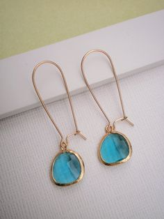 teal blue glass and gold earrings