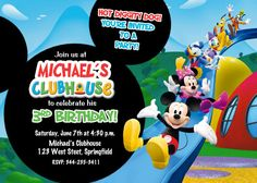Mickey Mouse Clubhouse Birthday Party Invitation  Printable