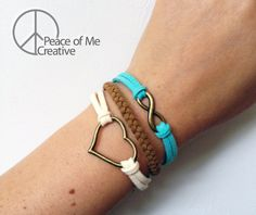 Layered Heart & Infinity Bracelet Infinity Heart, Easy Wear, Diamond Are A Girls Best Friend, Heart Charm, Bangle Bracelets, Layers, Jewelery, Diamonds, Braids