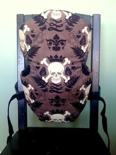 Snugli baby carrier cover brown skull print lined by LilRokker, $25.00