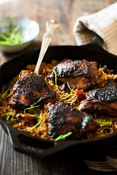 One Pan Malaysian Claypot Chicken Rice - Savory-sweet succulent marinated chicken, flavor boosting Chinese sausages, mushrooms and rice cooked in chicken broth.